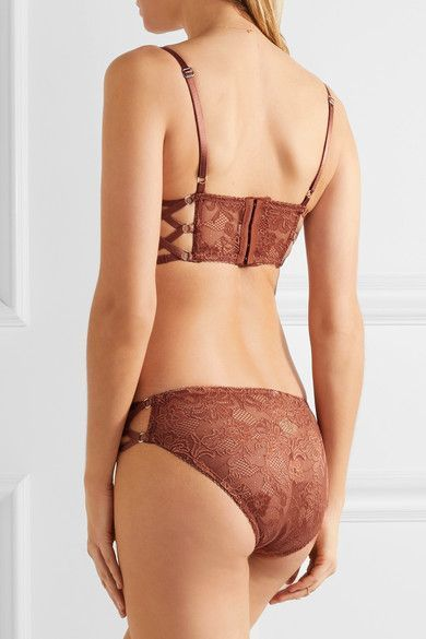Lonely - Bella Stretch-lace Underwired Bra - Brown - 36C
