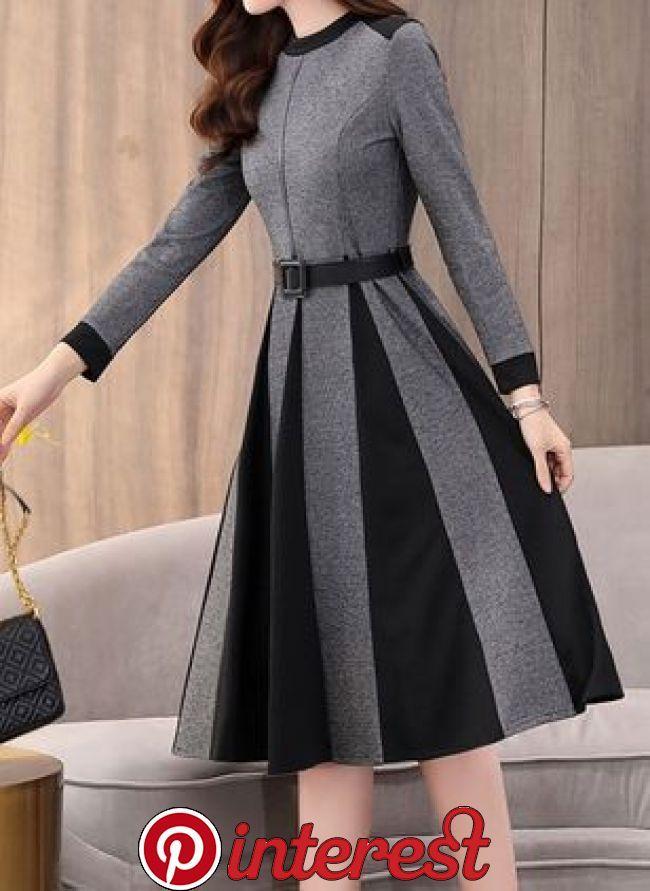 Color Block Ruffles Round Neckline Midi X Line Dress Dark Gray Xxl In 2020 Fashion Dresses Formal Dresses With 2020 Sirin Elbiseler Kiyafet Elbise Modelleri