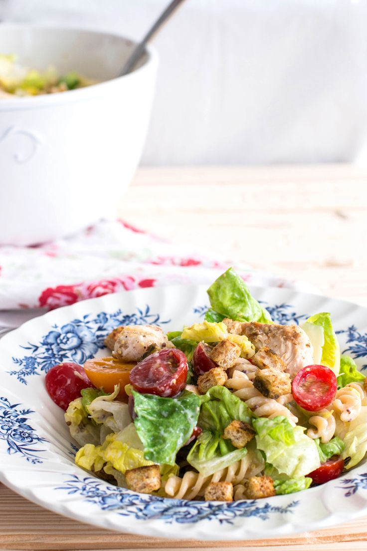 3* made Lighter Chicken Caesar Pasta Salad | savorynothings.com. Missing something. Not that great. Pretty plain.