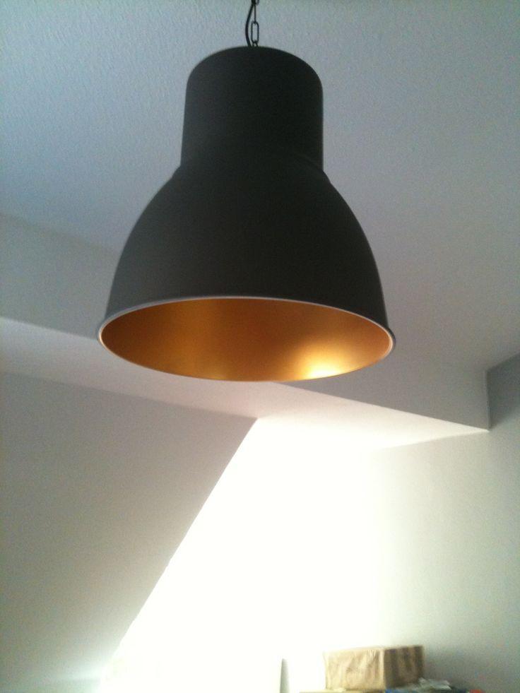 Ikea hektar pendant. Interior painted gold.   Ikea pendant