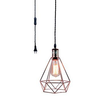 Pauwer Industrial Wire Cage Pendant Light Plug In Vintage