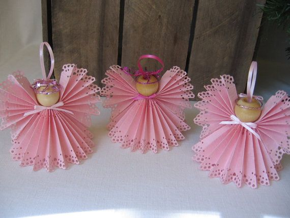 Angel Christmas Ornament U-Pick Trim Color Pink di SnowNoseCrafts