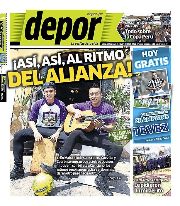 La Portada Impresa Depor del Dia 2014-10-29 del mejor diario deportivo del Peru y el Mundo en #Depor