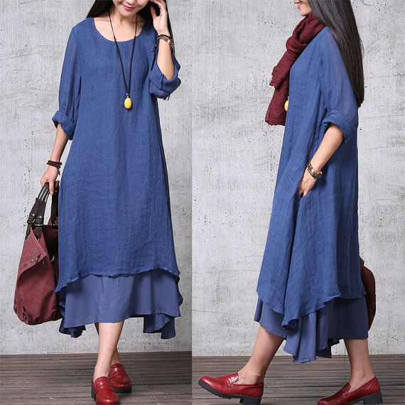 Casual Loose Fitting Long Sleeved Cotton and Linen Long Dress Blouse- Blue - Women Maxi dress