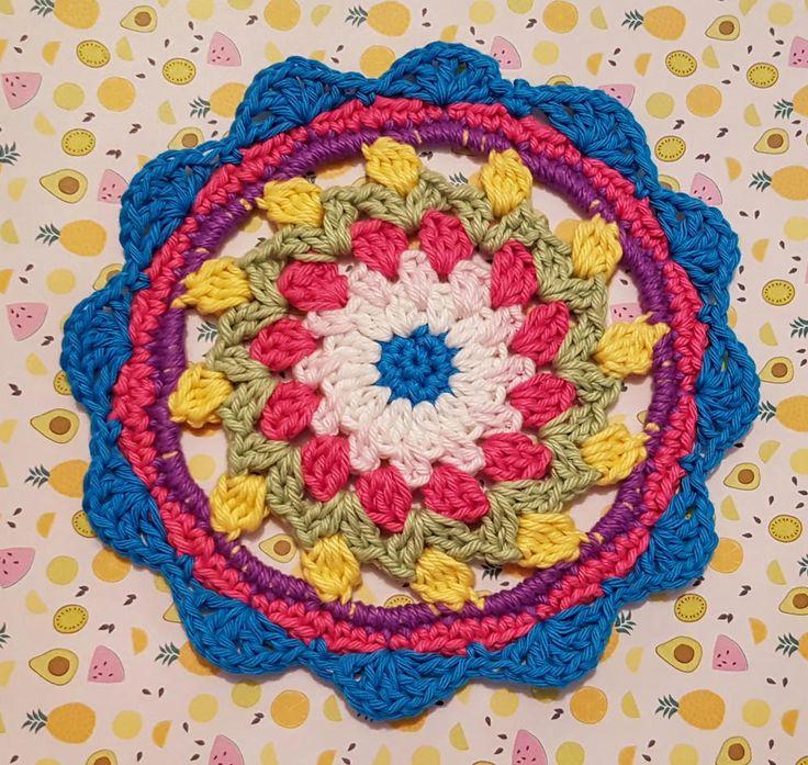 Happy Flower Mandala   AllFreeCrochet.com