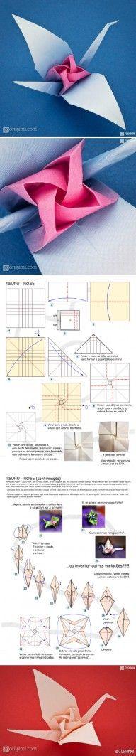 Origami Tsuru with Rose Folding Instructions