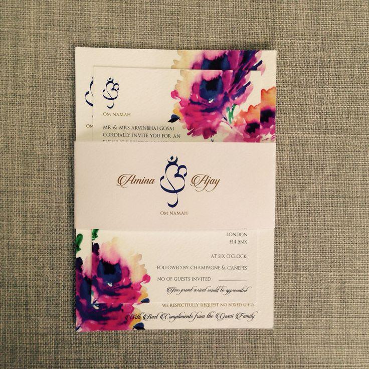 @Revadesign Watercolour Floral Printed Wedding Invitation