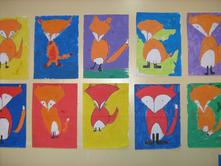 Students painted foxes (another idea from artprojectsforkids). This has been one of my favourite art projects- they all look like they could be in a picture book!