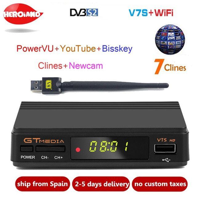 Freesat V7S HD FTA Digital Satellite TV Receiver DVB-S2//S Support Biss Key 1080P