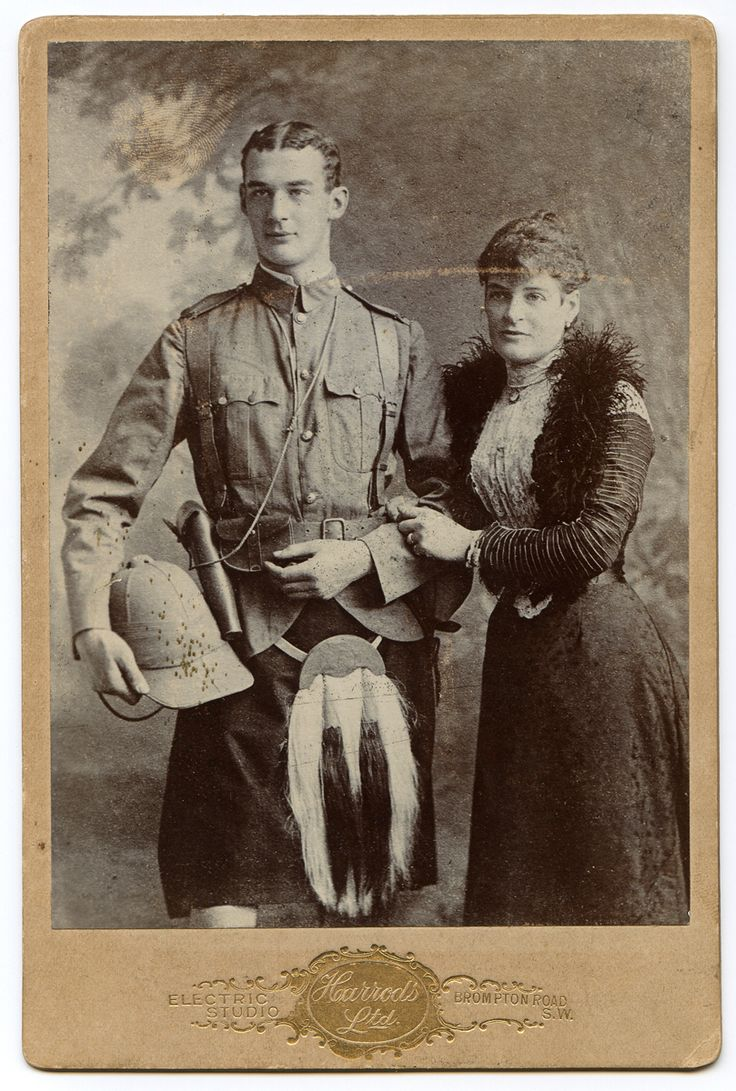 Lieutenant John Raymond Evelyn Stansfeld of the 2nd Battalion, The Gordon Highlanders with a female relation in field  uniform just prior to his embarkation to South Africa during the Anglo-Boer War.    Cabinet Photograph  Harrods Ltd. Electric Studio - Photographer  Bromton Road, SW, England  November, 1899