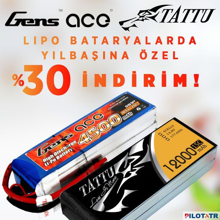 LiPo Bataryalarda Yılbaşına Özel %30 İndirim! http://www.pilottr.com/indirimli-urunler/batarya-pil/ #pilottr #gensace #tattu #lipo #batarya #pil #yılbaşı #kampanya #indirim #büyükindirim