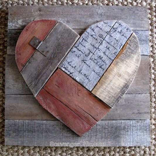 Turn scrap pieces of pallet wood and an old letter into an adorable wooden valentine heart