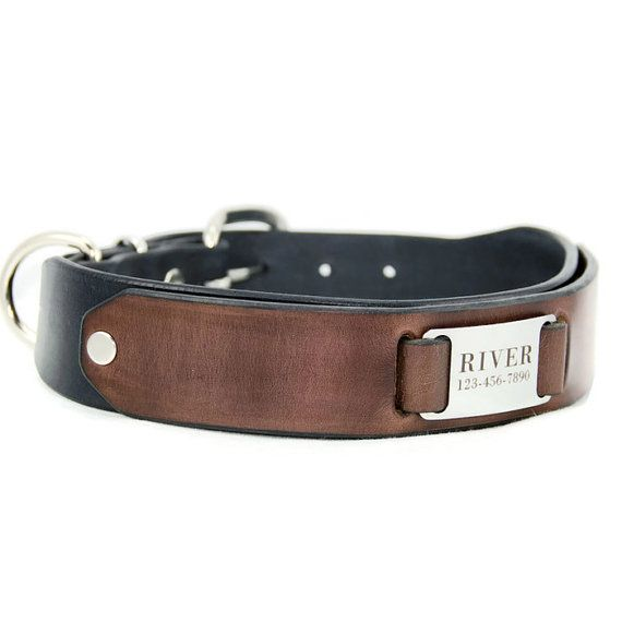 Custom Leather Dog Collar Black and Brown Leather by PupPanache