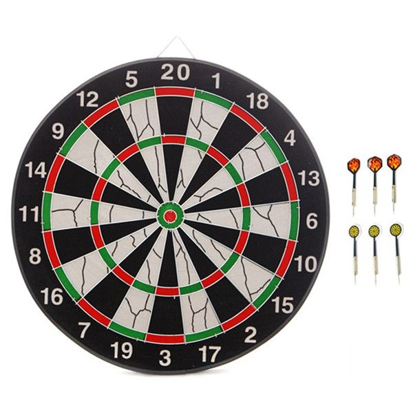 JOEREX 2 in 1 17 Inch Dart Board Family Game Double Sided Flocking Dart Board Set