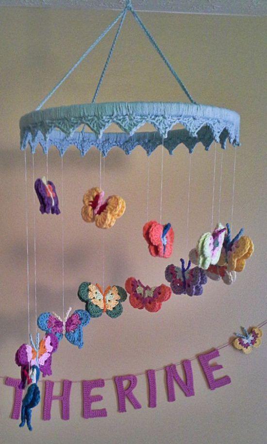 Butterfly Nursery Mobile Free Crochet Pattern