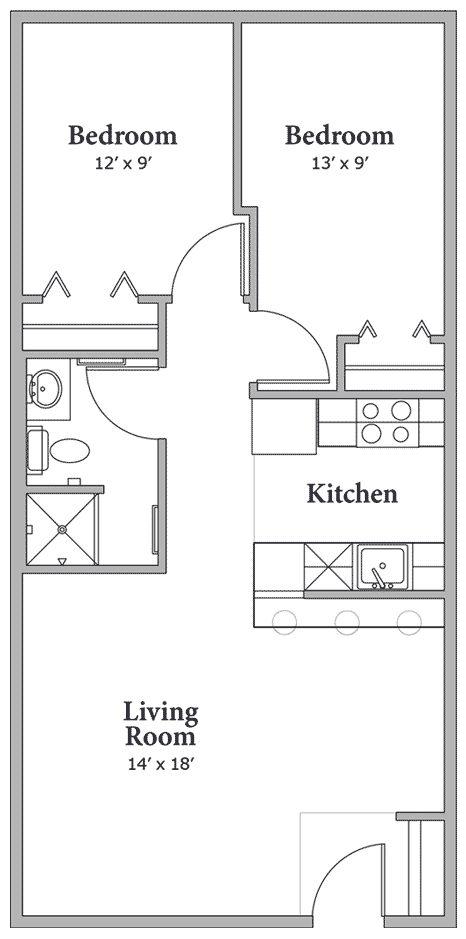 Floorplan 2bdrm 750 Sq Ft House Plans Pinterest