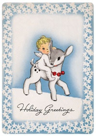 .: Vintage Christmas Cards, Animal Baby, Blue Christmas, Holiday Cards, Greeting Cards, Angel Animal, Holidays Cards, Baby Animals, Animal Christmas