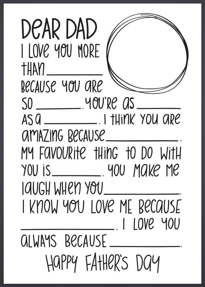 Dear Dad Letter - Fill in the Blanks - Great for Father's Day