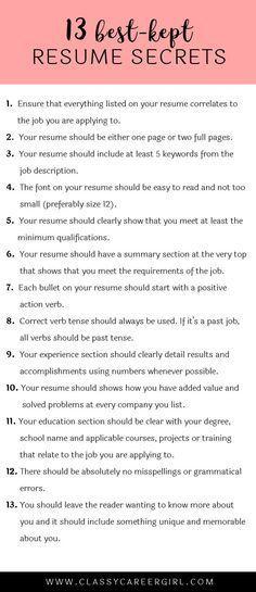 13 Best-Kept Resume Secrets