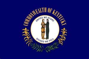 Kentucky State Flag - Unfortunately it's been voted the ugliest and/or blandest of all the 50 states and territories year after year.