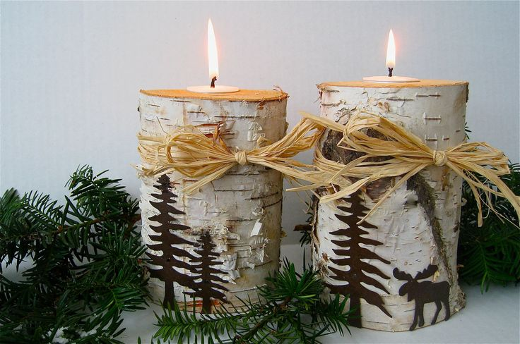Birch Log Candle Holders with rustic metal trees and moose and raffia bows. $42.64, via Etsy.