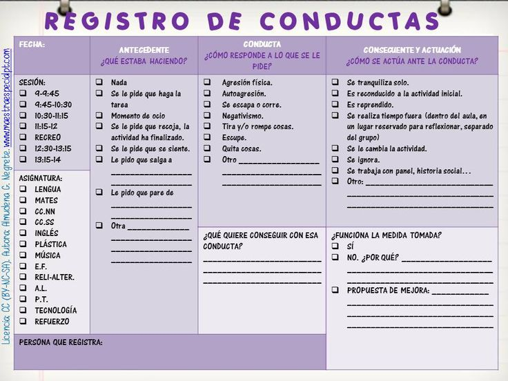 registro de conductas