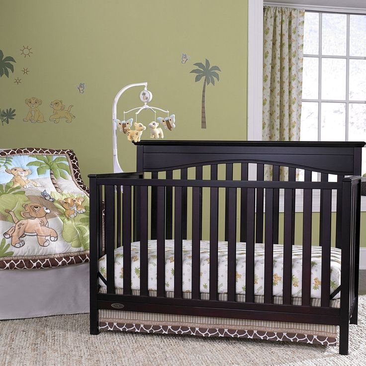 Bedroom Interior Black Wooden Mahogany Baby Boys Crib With Natural Jungle Theme Bedding Set Combination With Green Painted Wall Also White Wooden Window Using Floral Pattern Curtain With Girl Baby Be