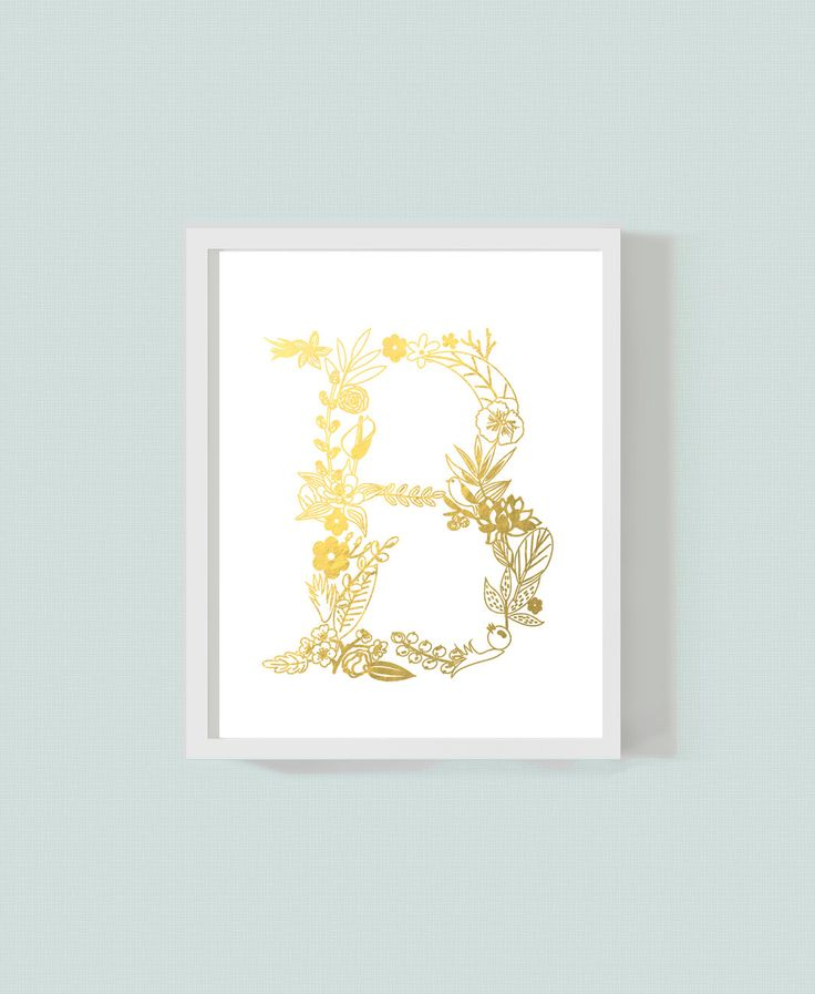 Gold, Silver or Copper Foil Floral Letter B Art Print - Monogram Print- Metallic Art by HopelessRomantics14 on Etsy