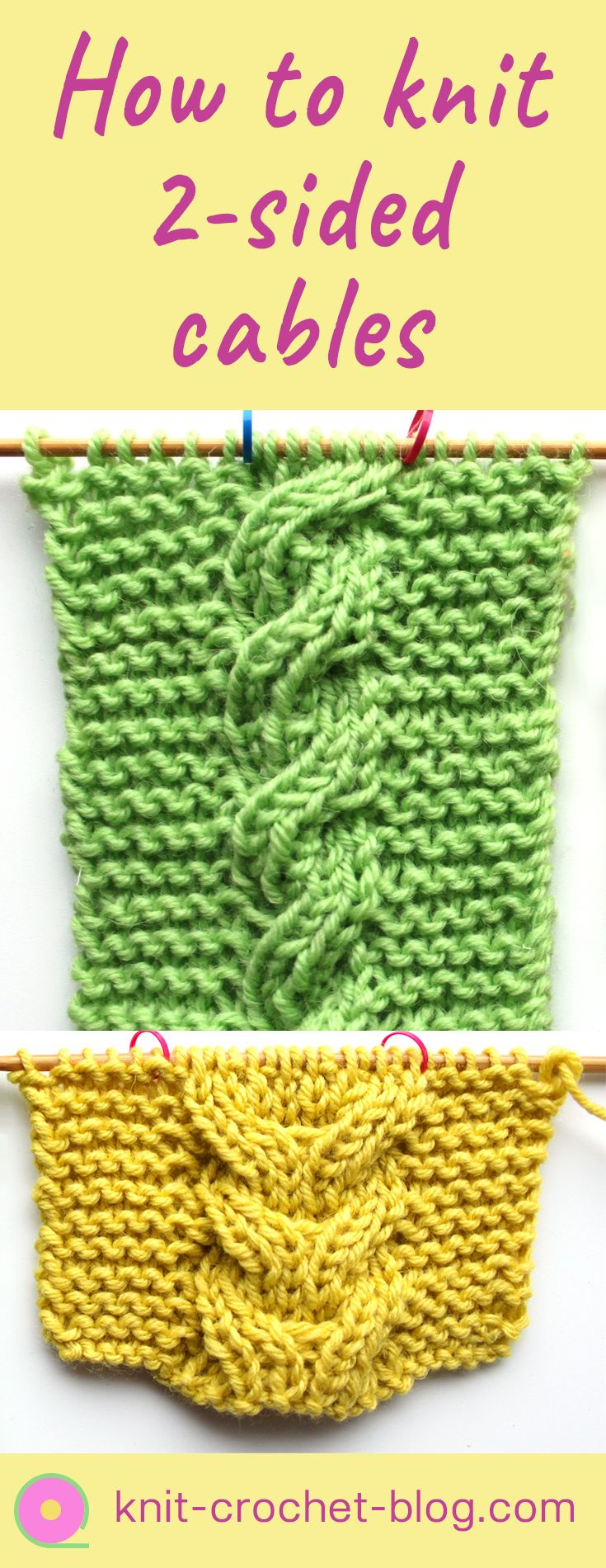 How to knit two-sided cables. Step by step videotutorial. Normal cables don't look good on the reverse side, so knit ehm double sided for items like scarves and blankets.
