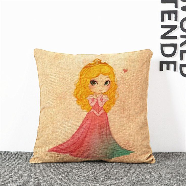 Free Shipping New Linen Cotton Cartoon Mermaid Snow White Princess Cushion Pillow on sofa for home decoration almofada