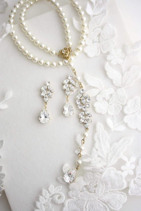 Backdrop Bridal Necklace SET Gold Pearl Wedding by LuluSplendor