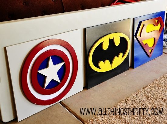 "DIY superhero art ~ Boys hallway!-- Pfft to the person who put ""boys hallway""... My daughter(s) will know and LOVE Batman as much as me! And other super heroes, this won't just be a boy thing."