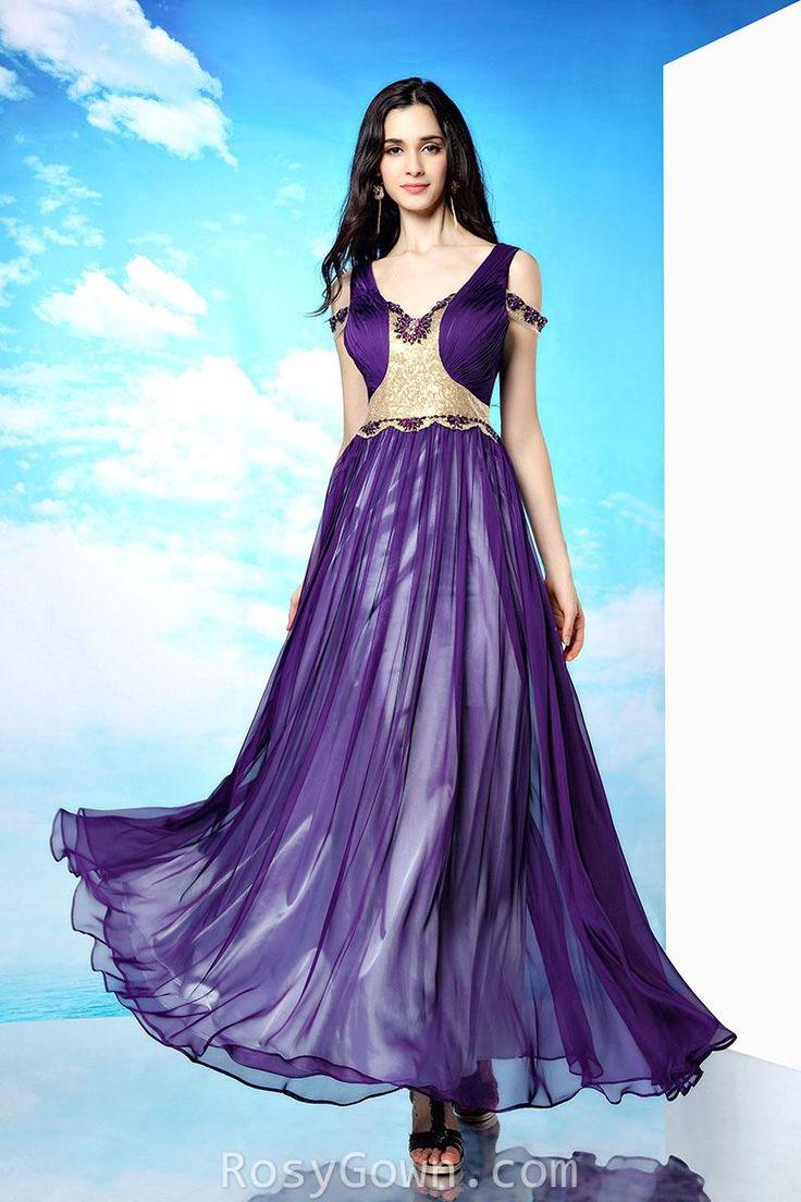 #purple #chiffon #sleeveless v-neck #v-back formal #dress