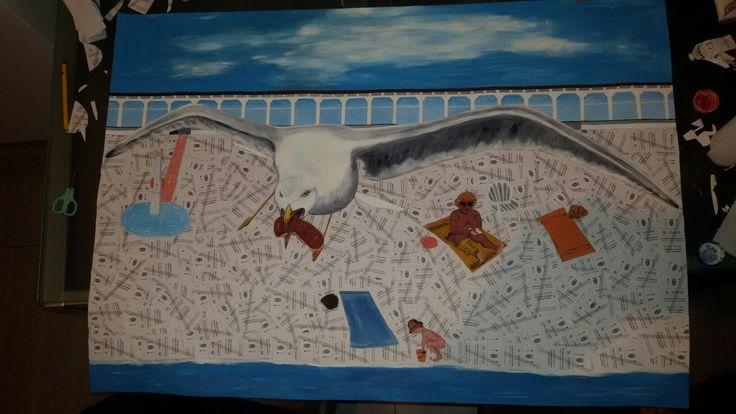 quadro pedocin gabbiano ruba panino, bagno Lanterna, molo fratelli bandiera, Trieste