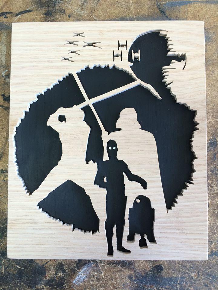 Star Wars cut with a scroll saw. $20.00