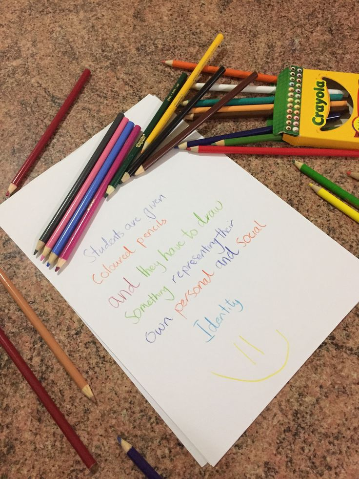 Students are given coloured pencils and they have to draw something representing their own personal and social identity.