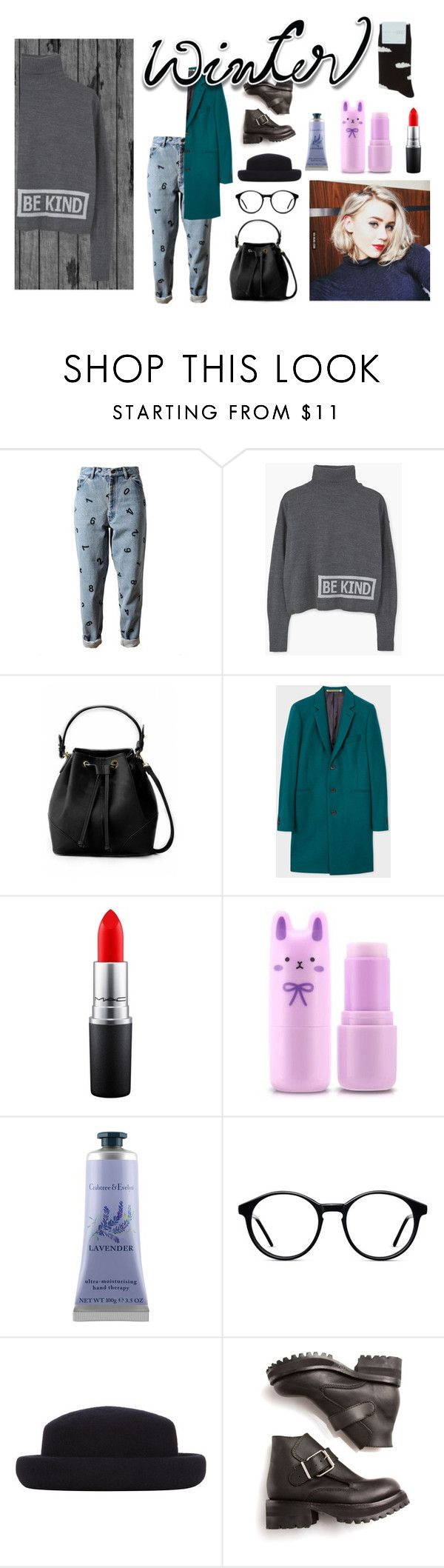 """""""Inspired by Josefine Pettersen"""" by iinacupcake ❤ liked on Polyvore featuring Ashish, MANGO, MAC Cosmetics, Tony Moly, Crabtree & Evelyn, Topshop, Opening Ceremony, Hansel from Basel and wintersweater"""