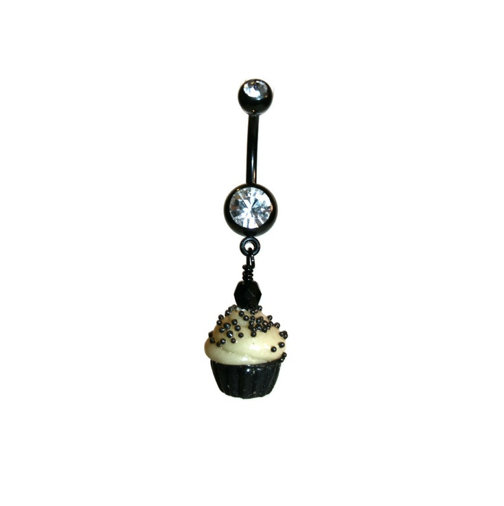 Glow in the dark belly ring cupcake kawaii goth navel ring 14g 14 gauge piercing jewelry. $16.00, via Etsy.