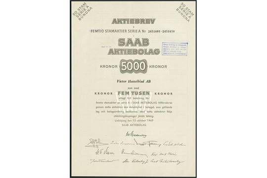 Saab AB, Aktie 50 x 100 Kronor, Linköping, 15. Oktober 1969, #2451601-50. Svenska Aeroplan AB (SA