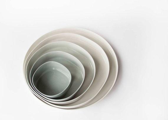 Set of 5 porcelain plates ceramic design dishes by Designlump