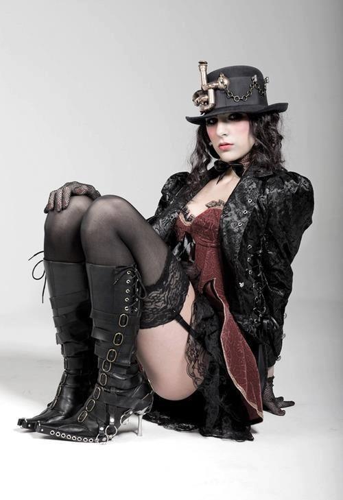 A Sexy Black Steampunk Costume  Steam  Steampunk Mode -3059