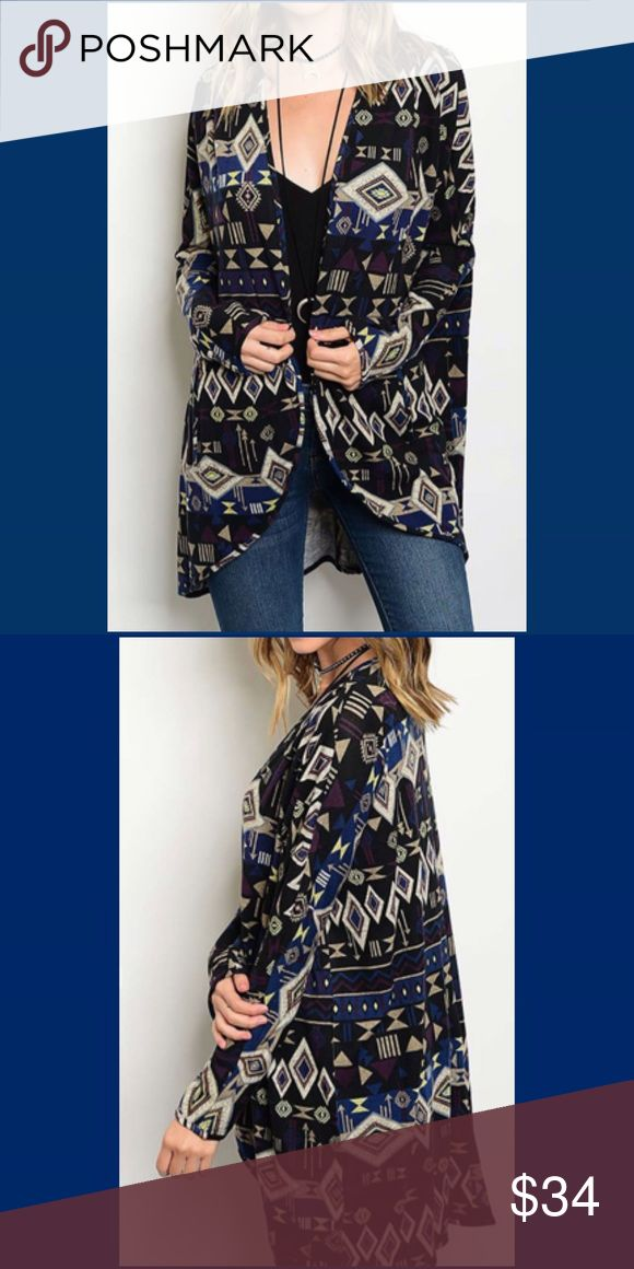 COMING SOON, Tribal print open cardigan COMING SOON, Tribal print open cardigan. Coming in next week and very excited. Mixture of colors but the Navy truly stands out. Fabric is 96% Polyester and 4% Spandex. Sweaters Cardigans