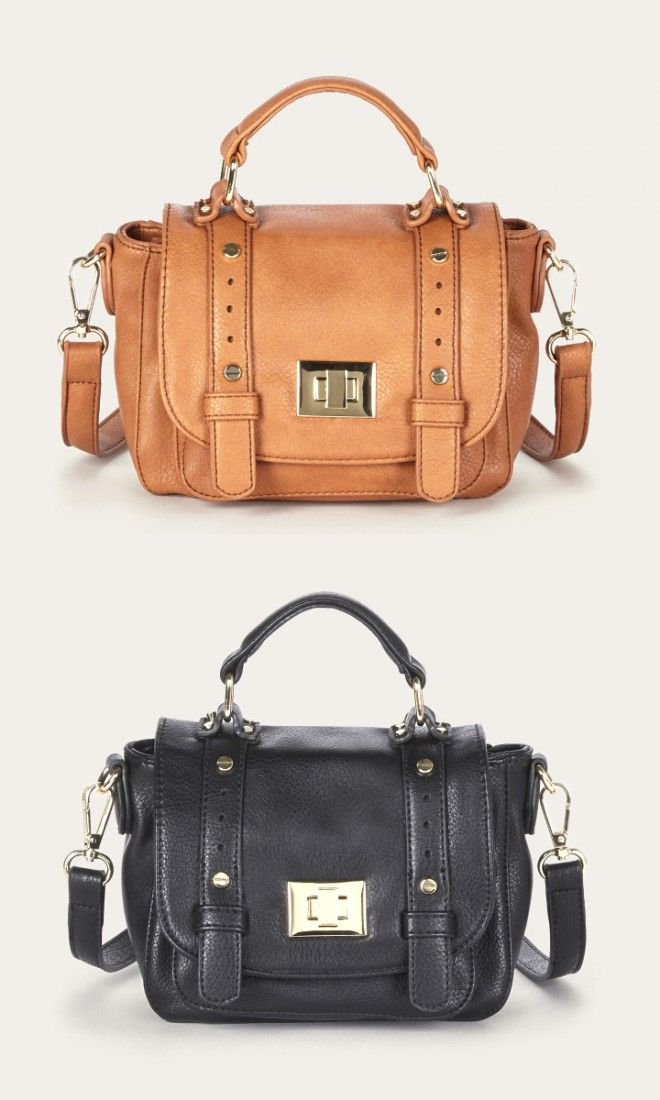 Mini messenger bag in cognac and black with a top handle, removable  crossbody strap,