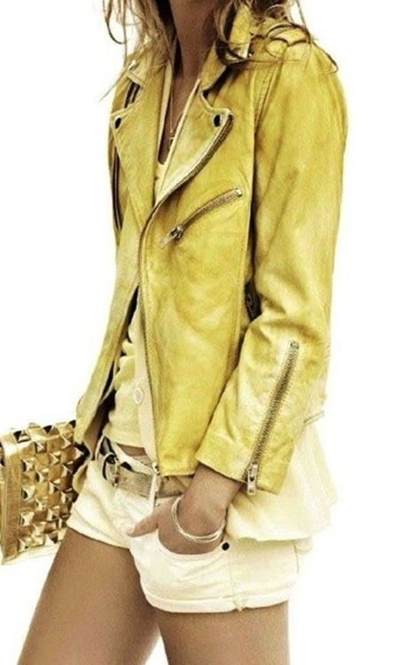 I found my summer outfit :) Colored leather, shorts, wide blouses or shirts...