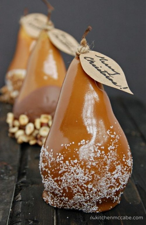 Caramel Dipped Pears---delicious to eat, plus what a beautiful gift!