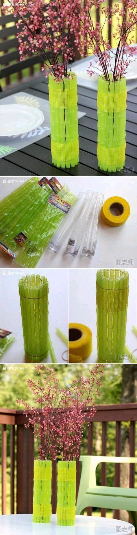 DIY PLASTIC STRAW VASE