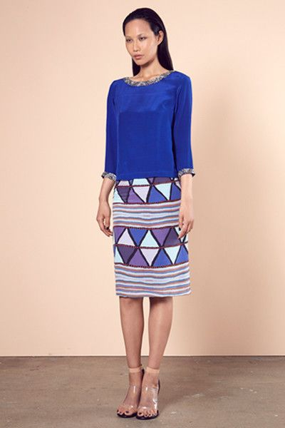 Silver 3/4 Sleeve Embellished Blue Top and Mary Skirt, Roopa Pemmaraju Autumn/ Winter 2014, Bamal Collection. Artist: Mary Napangardi Gallagher from Waringarri Aboriginal Arts, Kununurra, Australia Top:http://roopapemmaraju.com/collections/tops/products/silver-3-4-sleeve-top Skirt: http://roopapemmaraju.com/collections/skirts/products/mary-skirt