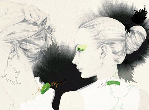 Cecilia Carlstedt uses a combination of pencil, watercolor and ink to achieve her delicate artwork