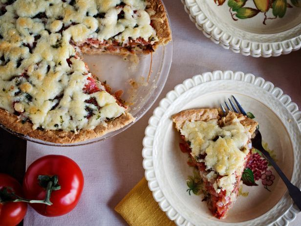 Summer Tomato Pie — Down-Home Comfort from #FNDish: Food Network, Green Tomatoes, Pies And Tarts, Foodnetwork Com, Pies Virginia Willis, Tomatoes Pies Recipes, Tomato Pie Recipes, Shrimp Recipes, Heirloom Tomatoes
