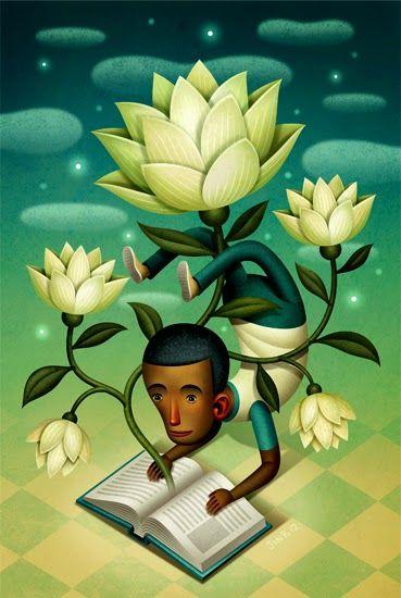 O Lobo Leitor: Ler a fazer o pino emaranhado numa flor